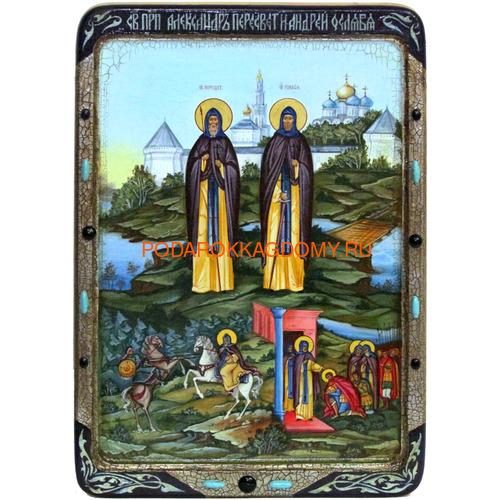Икона Святые преподобные Александр (Пересвет) и Андрей (Ослябя) Радонежские 071189 фото 2