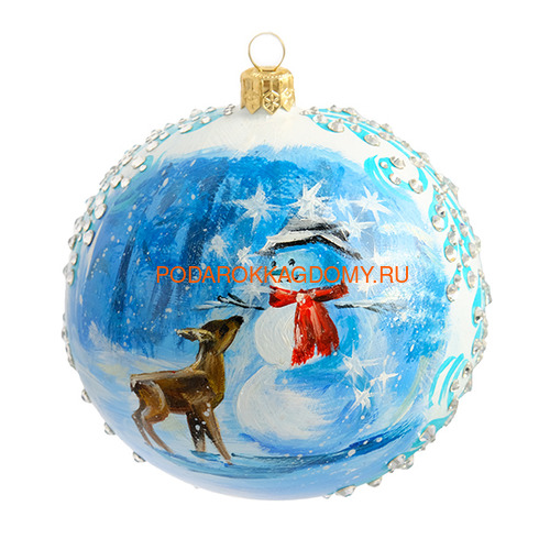 Набор новогодних ёлочных шаров с кристаллами Сваровски 16929 фото 4
