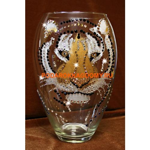 "Настольная ваза с кристаллами Swarovski ""Тигр"" 16697 фото"