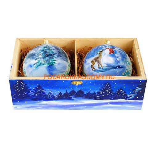 Набор новогодних ёлочных шаров с кристаллами Сваровски 16929 фото