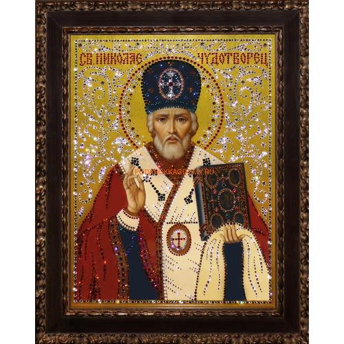 Икона Николай Чудотворец с кристаллами Сваровски 0992 фото
