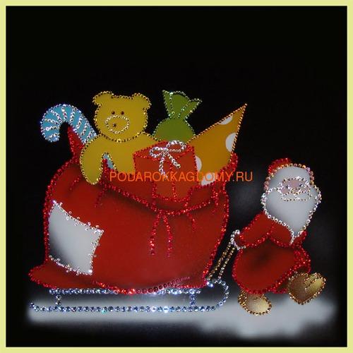 "Картина Сваровски ""Дед Мороз с подарками"" 02490 фото"