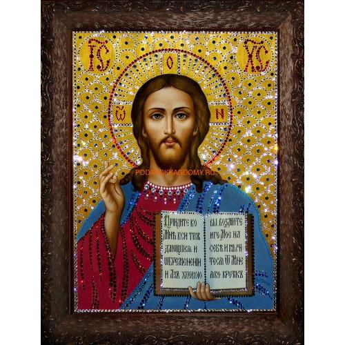 Икона Господь Вседержитель с кристаллами Сваровски 0993 фото
