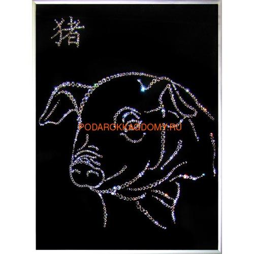 """Восточная картина Сваровски """"Символ года свинья"""" 7744 фото"""