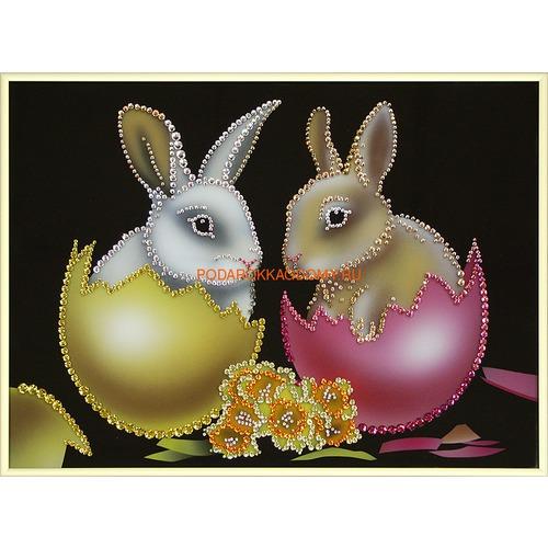 """Картина Сваровски """"Пасхальные кролики"""" 02779 фото"""