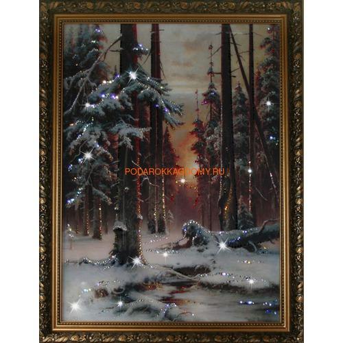 """Картина Сваровски """"Зимний закат в еловом лесу"""" 16148 фото"""