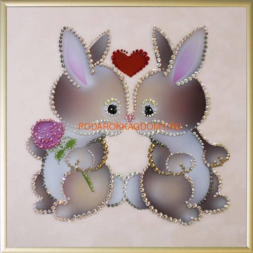 """Картина Сваровски """"Влюблённые кролики"""" 02571 фото"""