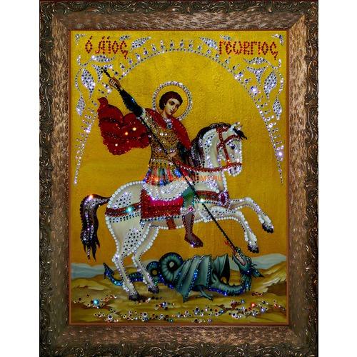 Икона Георгий Победоносец с кристаллами Сваровски 09136 фото