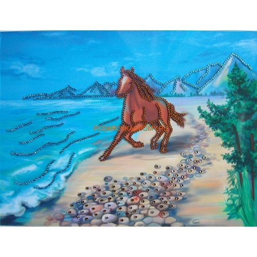 """Картина Сваровски """"Конь на побережье"""" 08181 фото"""