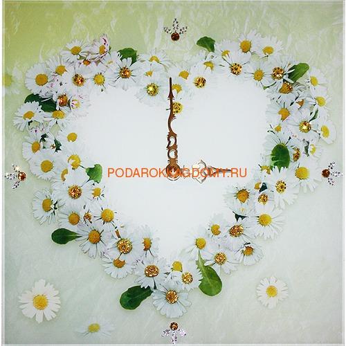 """Настенные часы с кристаллами Сваровски """"Ромашки"""" 02911 фото"""