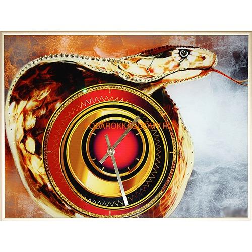 """Настенные часы с кристаллами Сваровски """"Кобра"""" 02936 фото"""