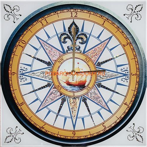 """Настенные часы с кристаллами Сваровски """"Компас"""" 02947 фото"""