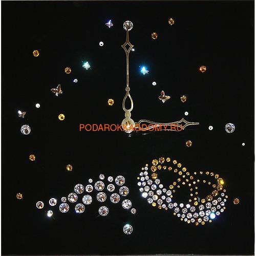 """Настенные часы с кристаллами Сваровски """"Кольца"""" 02952 фото"""
