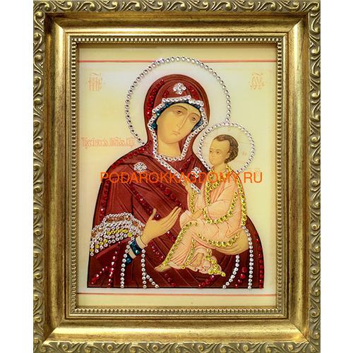 Тихвинская икона Божией Матери с кристаллами Swarovski 16290 фото