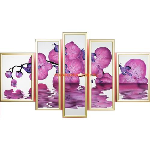 """Модульная картина Сваровски """"Орхидея"""" 02891 фото"""