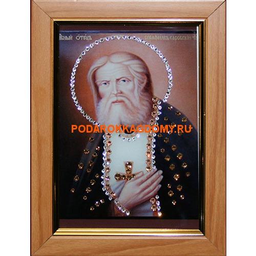 Икона Серафим Саровский с кристаллами Сваровски 16362 фото
