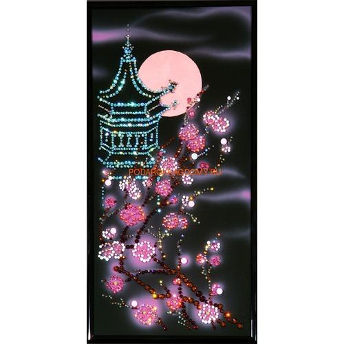 """Восточная картина Сваровски """"Пагода с сакурой"""" 0251 фото"""