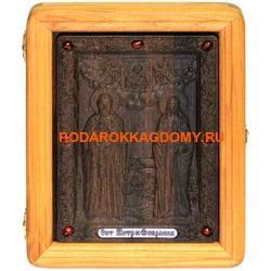 Резная икона Пётр и Февронья