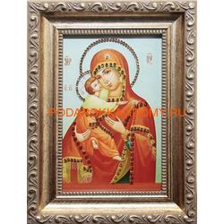 Владимирская икона Божьей Матери с кристаллами Сваровски