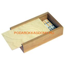 Домино подарочное в деревянном пенале