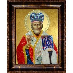 Икона Николай Чудотворец с кристаллами Сваровски