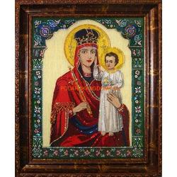 Икона Божьей Матери Призри на Смирение с кристаллами Сваровски