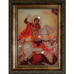 Икона Георгий Победоносец с кристаллами Сваровски