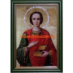 Икона Святой Пантелеймон с кристаллами Сваровски