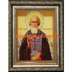 Икона Сергий Радонежский с кристаллами Сваровски